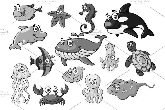 Sea Ocean Cartoon Animals Fishes Vector Icons Set