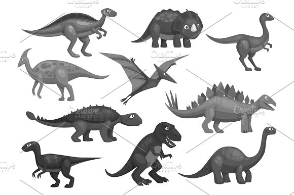 Cartoon Dinosaurs Icons Set Of Jurassic Characters