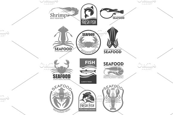 Vector Icons For Seafood Fish Food Restaurant Menu