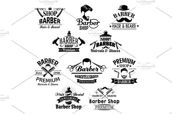 Barber Shop Beard Mustaches Scissors Vector Icons