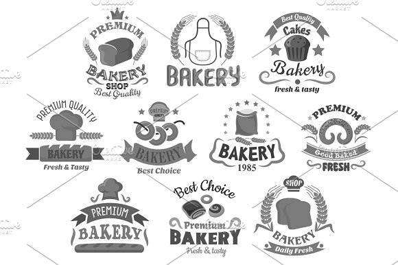 Bread And Bakery Shop Desserts Vector Icons Set