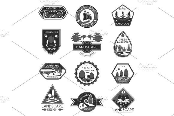 Landscape Design Company Vector Icons Set