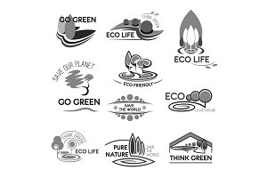 Eco life and green environment vector icons