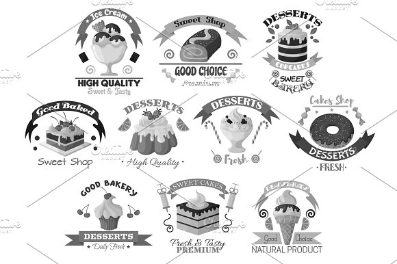 Bakery Pastry And Desserts Vector Template Icons
