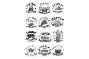 Fast food vector icons set for fastfood restaurant