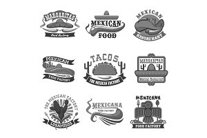 Mexican cuisine restaurant vector icons set