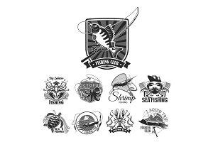 Fishing sport club vector icons set