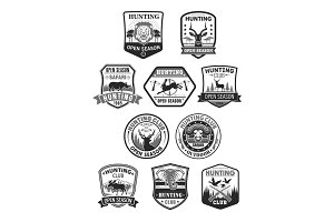 Hunting club or hunt open season vector icons set