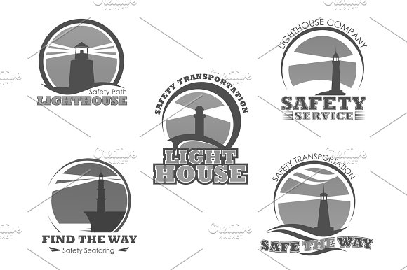 Lighthouse Or Marine Safety Beacon Vector Icons