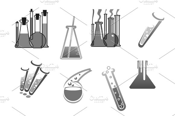 Chemistry vector icons chemical tubes tests