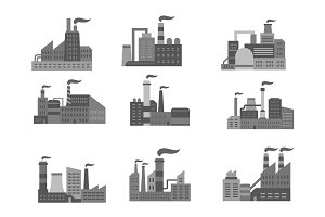 Industrial factory or industry plants vector icons