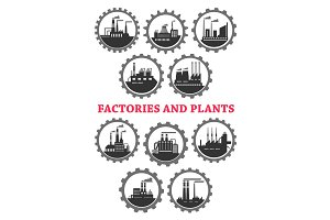 Industrial vector icons of factory industry plants