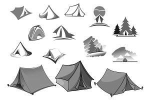 Camping vector icons of camp tent in forest
