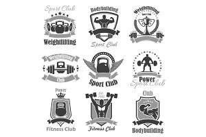 Weightlifting fitness gym sport club vector icons