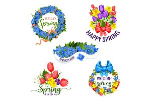Spring flowers vector icons for holiday greeting