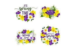 Spring flowers bunches and bouquets vector icons