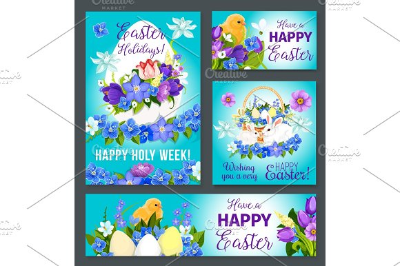 Easter Greeting Vector Paschal Banner Poster Card