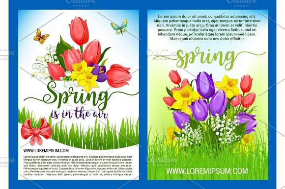 Spring Flowers Bouquets Vector Greeting Posters