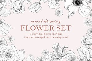Pencil Drawing Flower Set