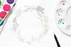 Hand painted wreath on white