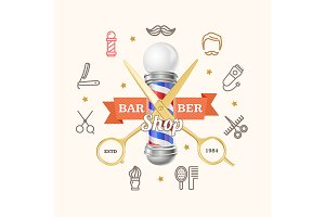 Barber Shop Emblem with Scissors