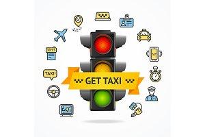 Get Taxi Concept. Vector