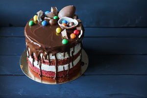 Delicious chocolate cake with chocolate candies