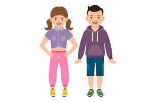 Cute cartoon girl and boy