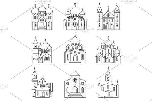 Church Linear Icons On White Background
