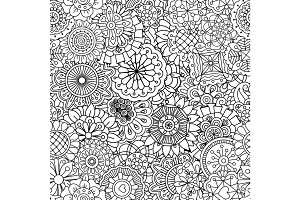 Pattern with round mandala style flowers
