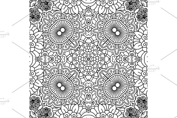 Linear Black And White Floral Pattern