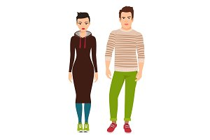 Couple in hipster style clothes