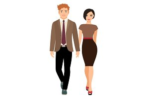 Elegant style couple in business clothes