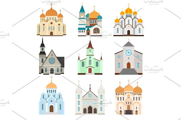 Christian sanctuary building icons