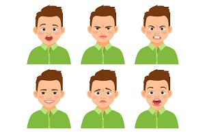Boy face expression set