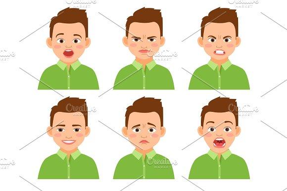Boy face expression set