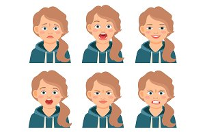 Little kid girl face expressions