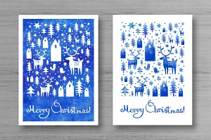 Blue watercolor Christmas set