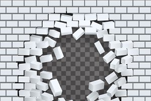 Break hole in brick