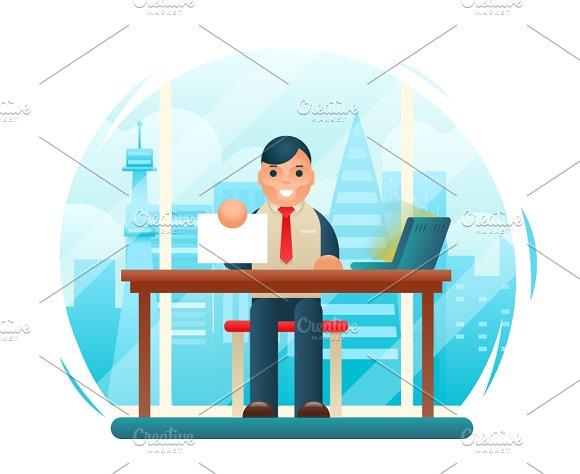 Businessman Sitting Table