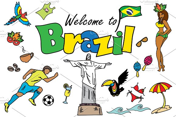 Cartoon SET Brazil and Rio in Graphics