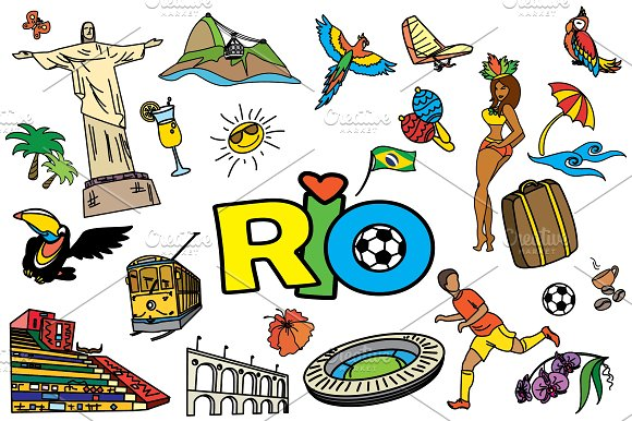 Cartoon SET Brazil and Rio in Graphics - product preview 2