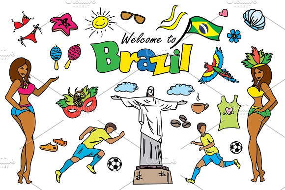 Cartoon SET Brazil and Rio in Graphics - product preview 3