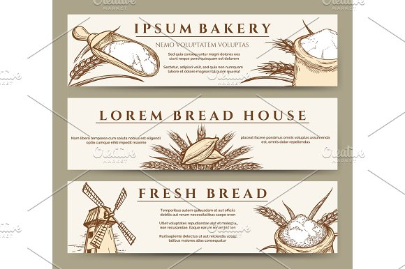 Fresh Bread And Bakery Banners