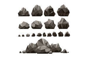 Stones and rocks 3d isometric illustration