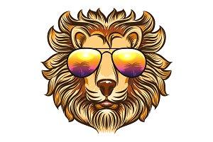 Lion in rainbow glasses
