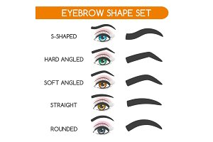 Women eyebrows shapes set