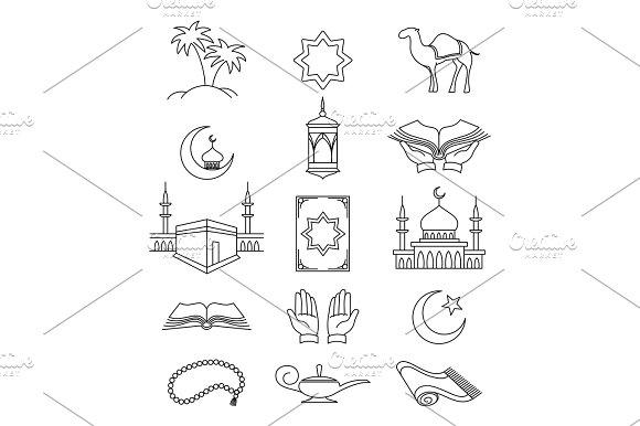 Muslim Line Signs For Ramadan Kareem