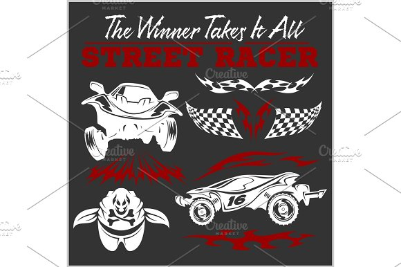 Car Racing Badges And Elements Graphic Design For T-shirt