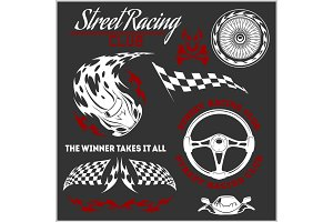 Car racing badges and elements. Graphic design for t-shirt.